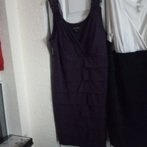 Lot of 2 women's dresses black and white & purple